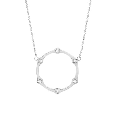 Diamond Gear Necklace | White Gold