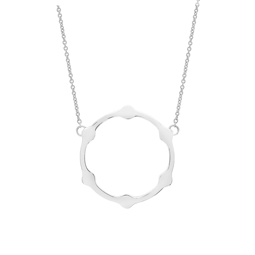 Gear Necklace | White Gold with White Diamonds