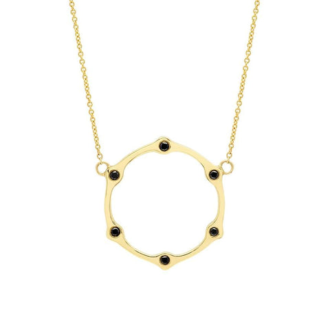 Gear Necklace | Gold with Black Diamonds