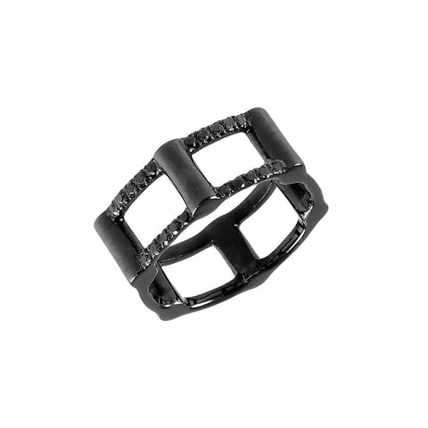 Half Cage Ring | Black Gold with Black Diamonds