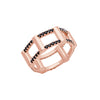 Black Diamond Half Cage Ring | Rose Gold