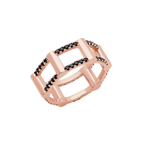 Half Cage Ring | Rose Gold with Black Diamonds