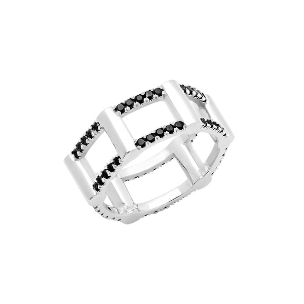 Half Cage Ring | White Gold with Black Diamonds