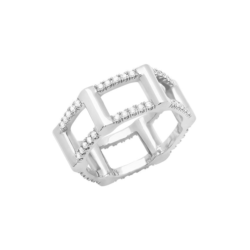 Half Cage Ring | White Gold with Diamonds