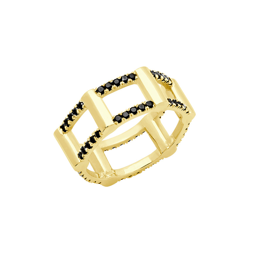 Half Cage Ring | Gold with Black Diamonds