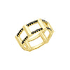 Black Diamond Half Cage Ring | Yellow Gold