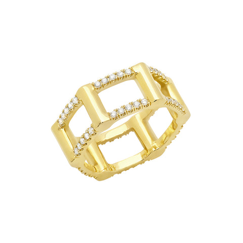 Half Cage Ring | Gold with Diamonds