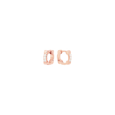 Diamond Cage Huggies | Rose Gold