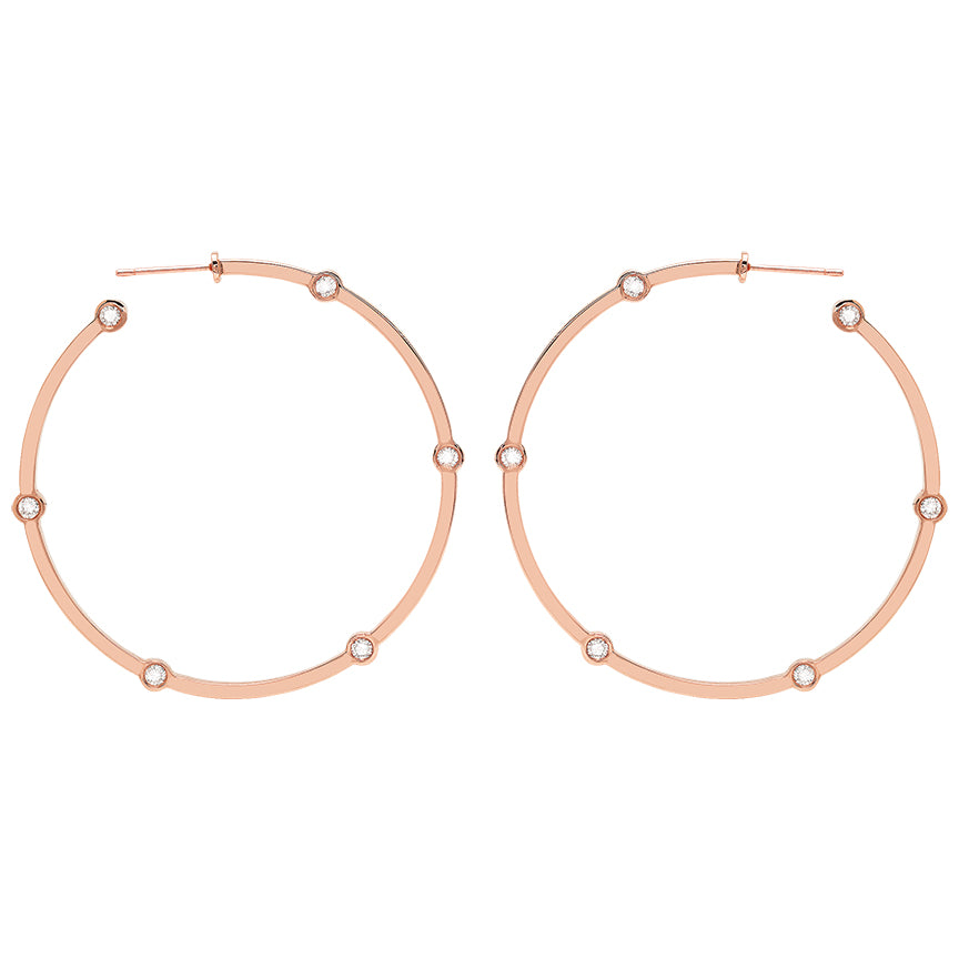 Large Cage Hoops with Diamonds | Rose Gold