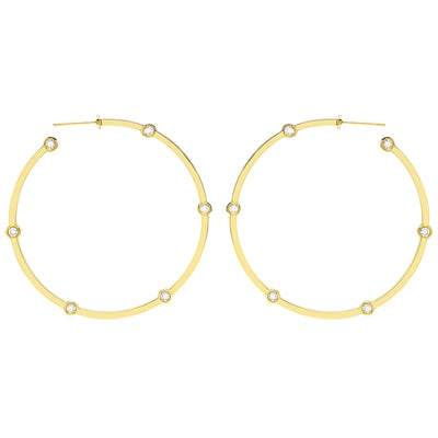 Large Cage Hoops with Diamonds on the Facets | Yellow Gold