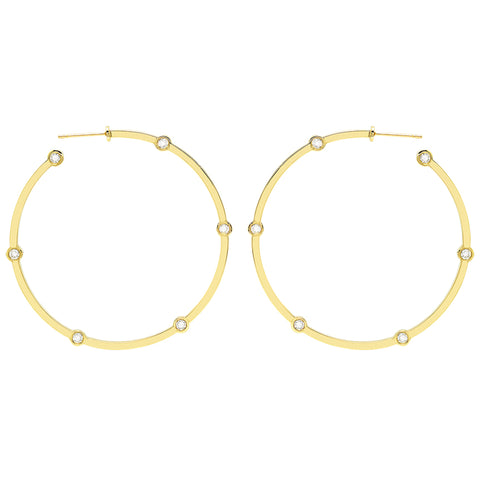 Large Cage Hoops with Diamonds | Gold