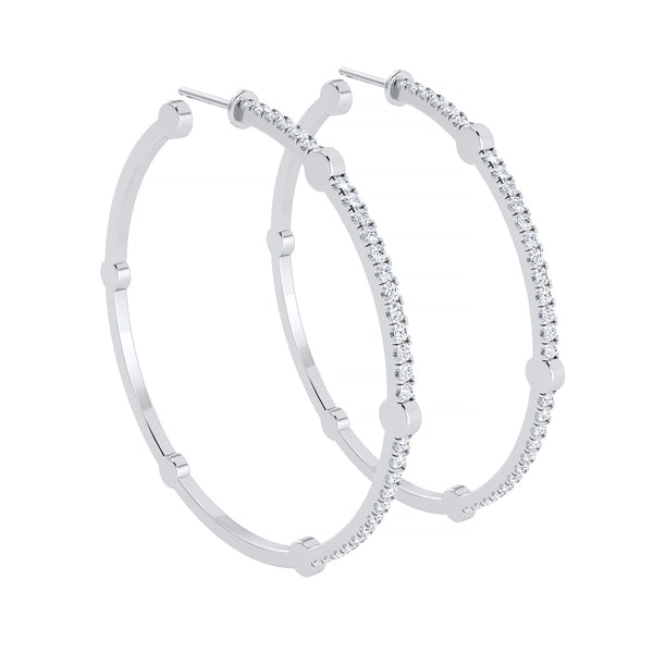Large Cage Hoops with Diamonds on the Front | White Gold