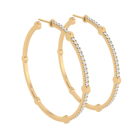 Large Cage Hoops with Diamonds on the Front | Gold