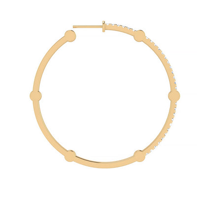 Large Cage Hoops with Diamonds on the Front | Yellow Gold