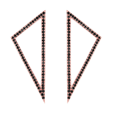 Large Diamond Triangle Earrings | 14K Rose Gold with Black Diamonds