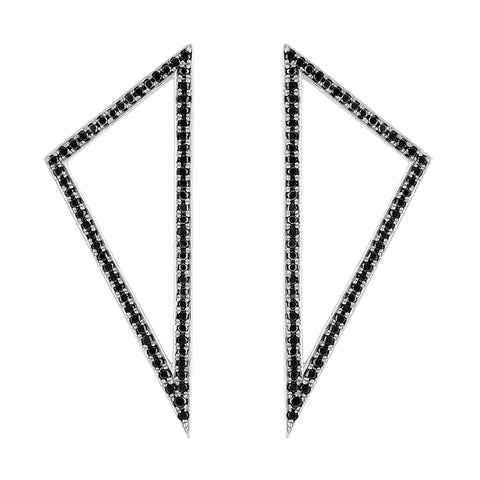 Large Diamond Triangle Earrings | White Gold with Black Diamonds