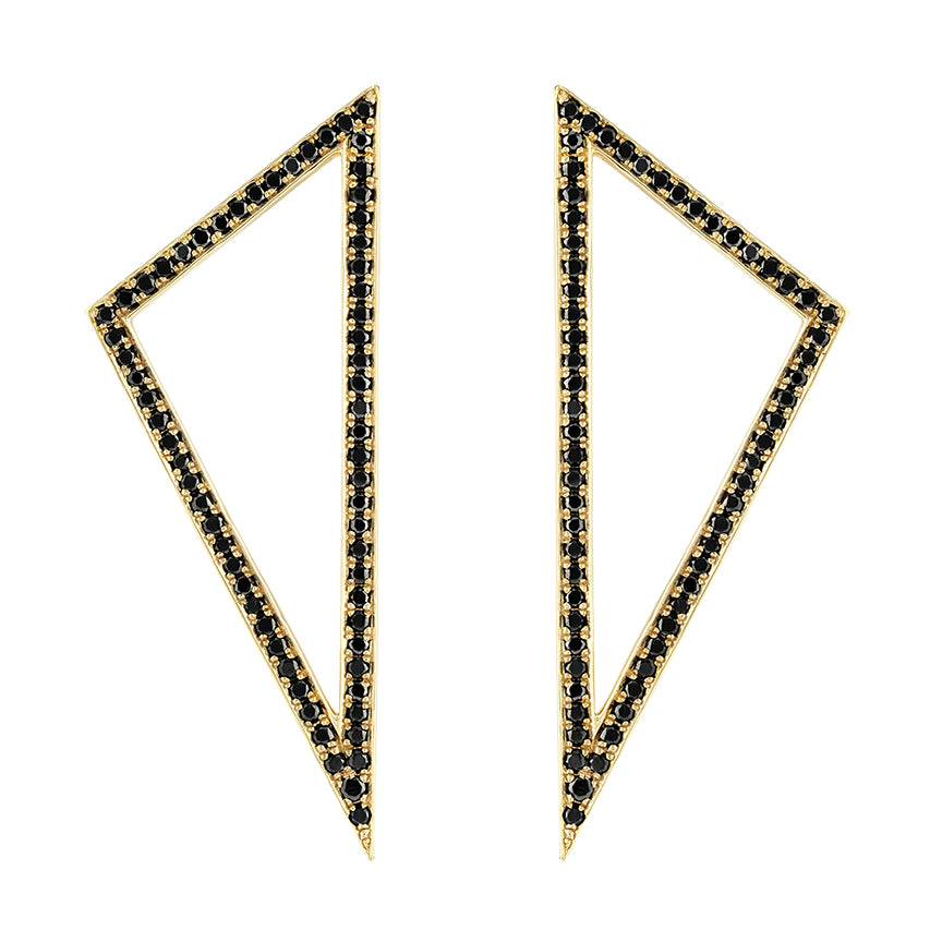 Large Diamond Triangle Earrings | Yellow Gold with Black Diamonds