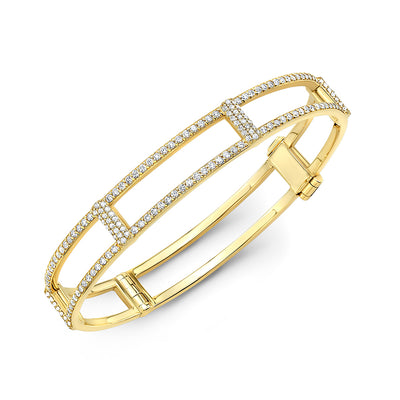 Locking Cage Bracelet | Yellow Gold with All Diamonds