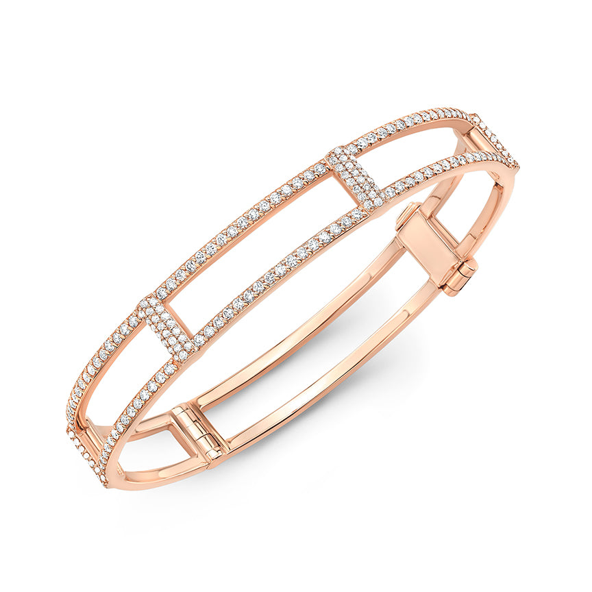Locking Cage Bracelet | Rose Gold with All Diamonds