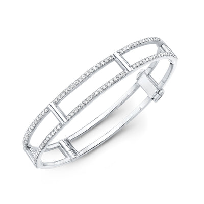 Locking Cage Bracelet | White Gold with Diamonds on Lateral Bars