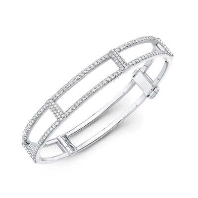 Locking Cage Bracelet | White Gold with All Diamonds