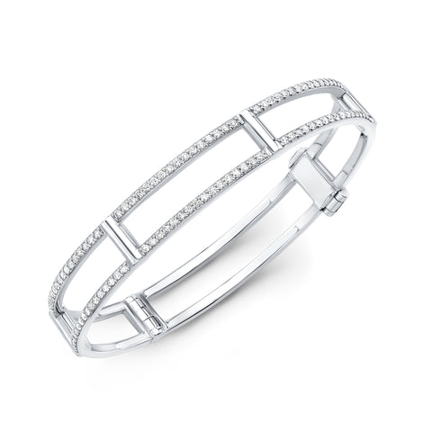 Locking Cage Bracelet | White Gold with White Diamonds on Lateral Bars