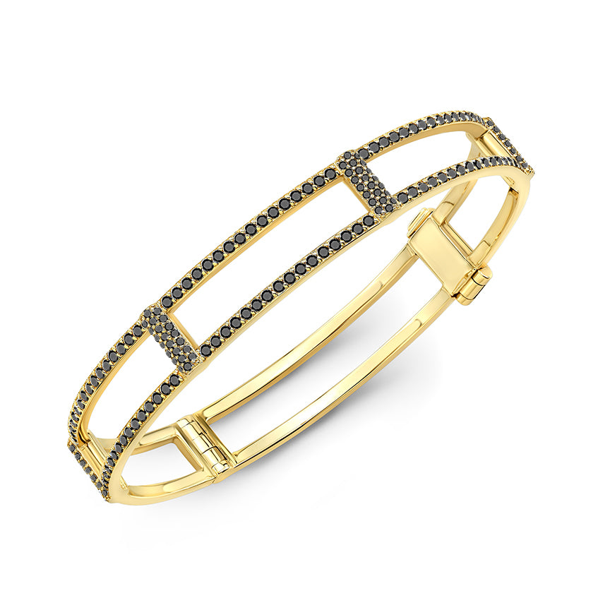 Locking Cage Bracelet | Yellow Gold with All Black Diamonds