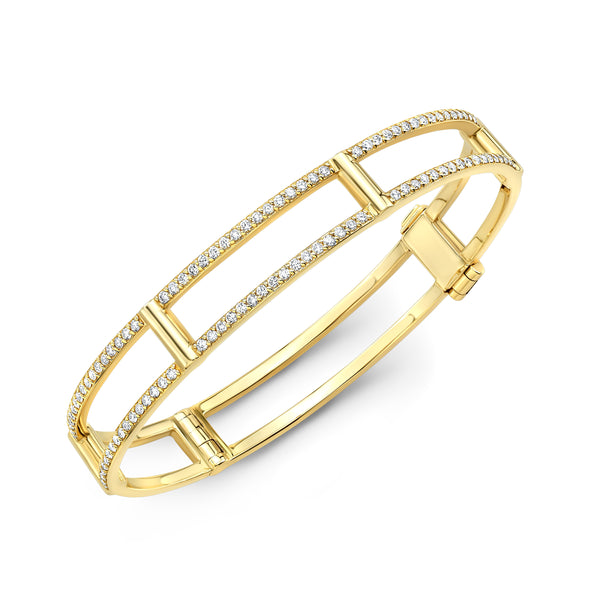 Locking Cage Bracelet | Yellow Gold with White Diamonds on Lateral Bars