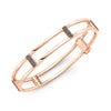 Locking Cage Bracelet | Rose Gold with Black Diamonds on Posts