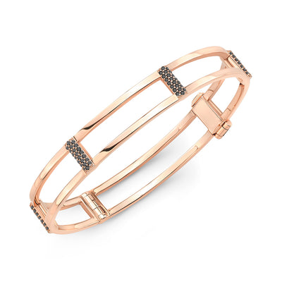 Locking Cage Bracelet | Rose Gold with Black Diamond Posts