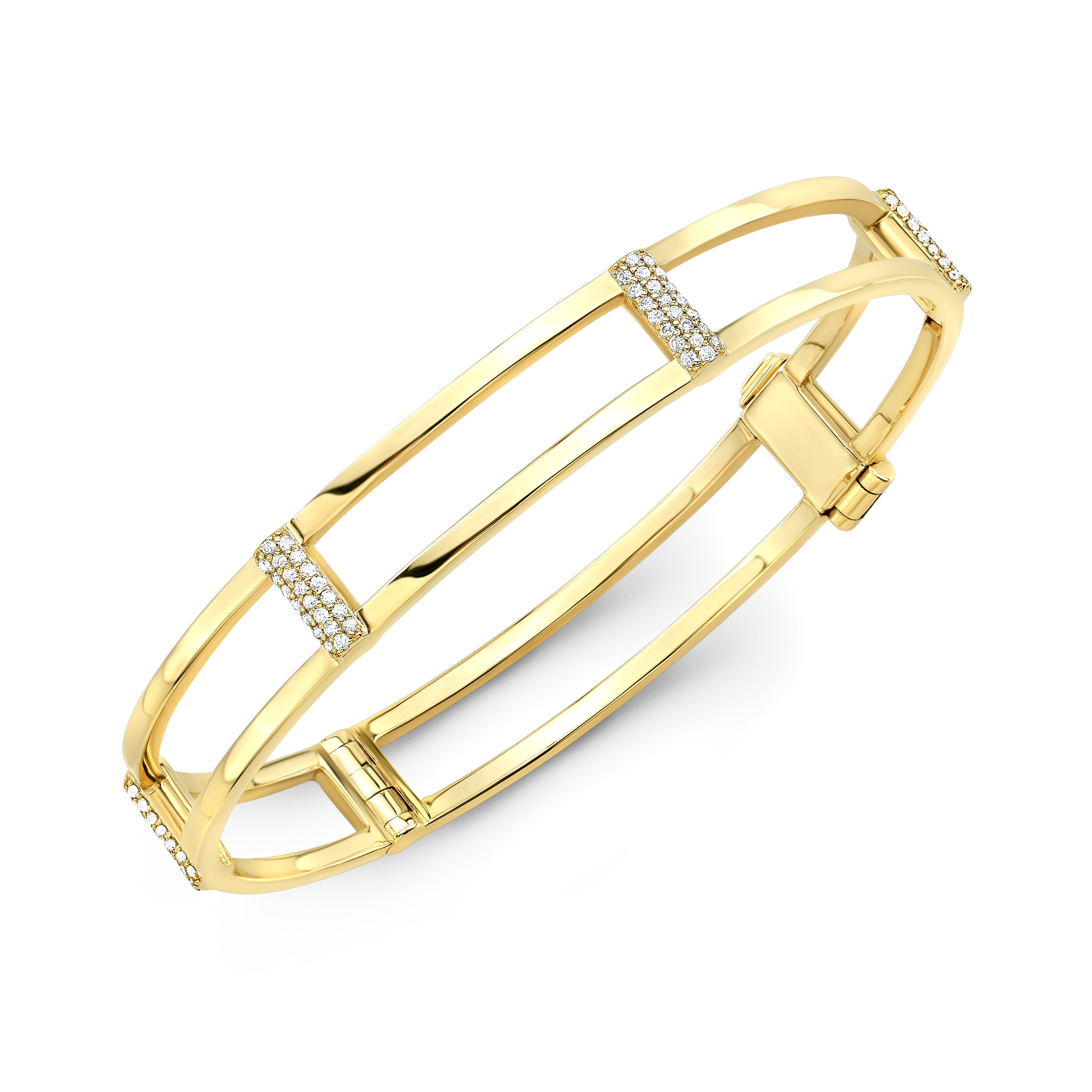 Locking Cage Bracelet | Yellow Gold with White Diamonds on Posts