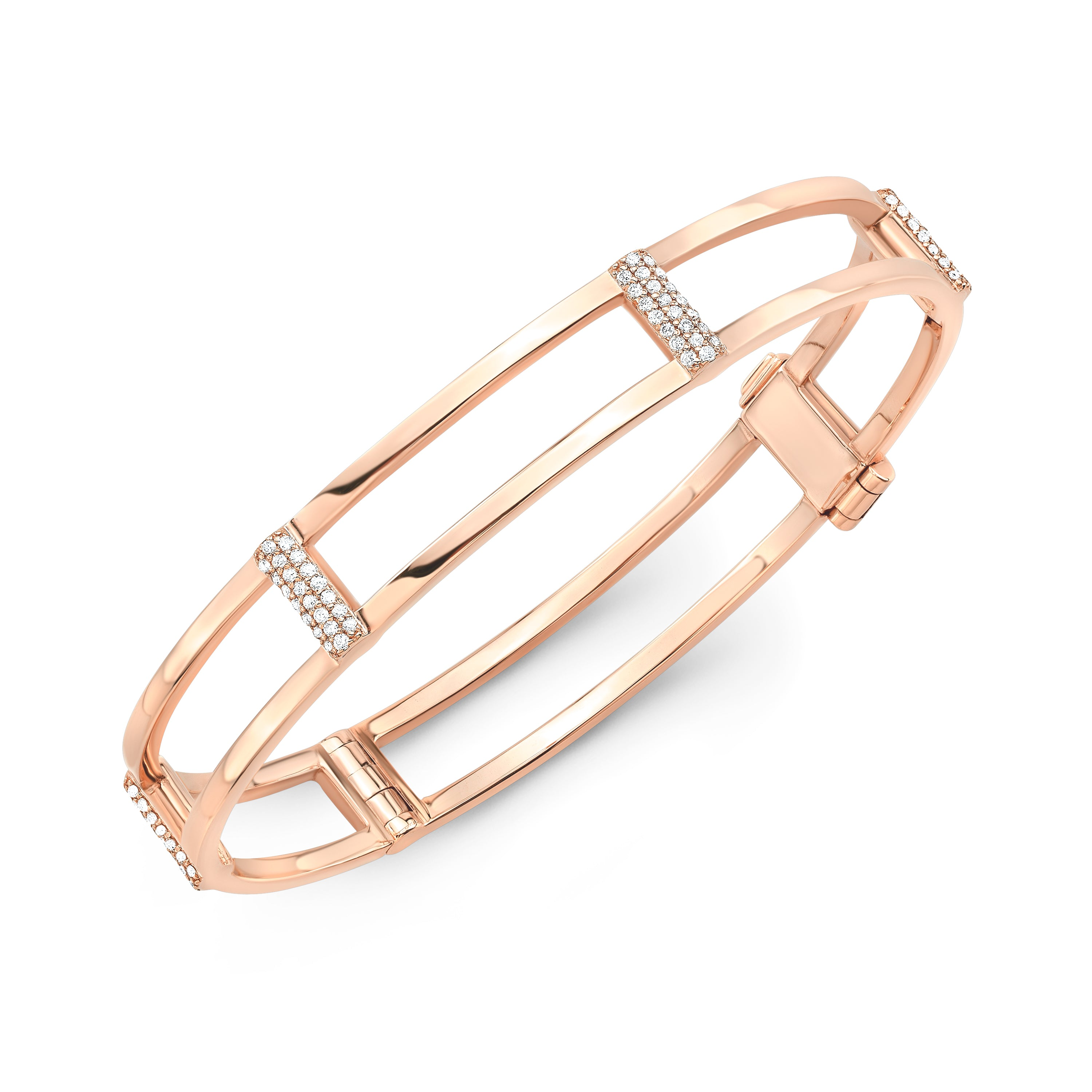 Locking Cage Bracelet | Rose Gold with White Diamonds on Posts