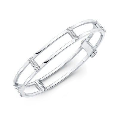 Locking Cage Bracelet | White Gold with Diamonds on Posts