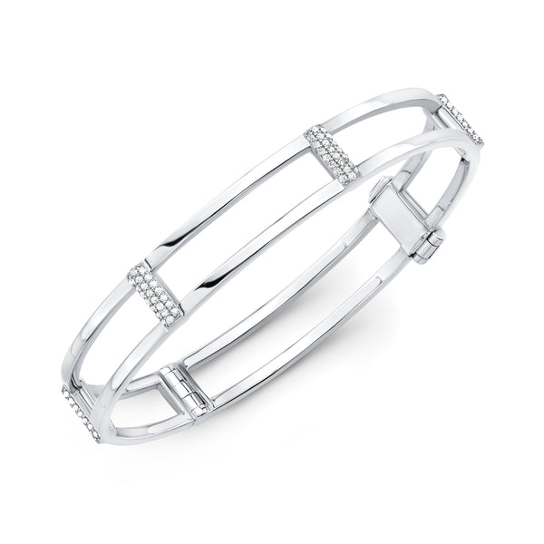 Locking Cage Bracelet | White Gold with White Diamonds on Posts