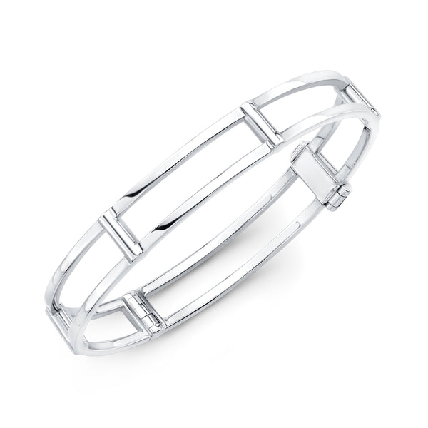Locking Cage Bracelet | White Gold