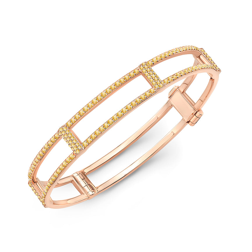 Locking Cage Bracelet | Rose Gold with All Yellow Sapphires