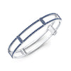 Locking Cage Bracelet | White Gold with All Blue Sapphires