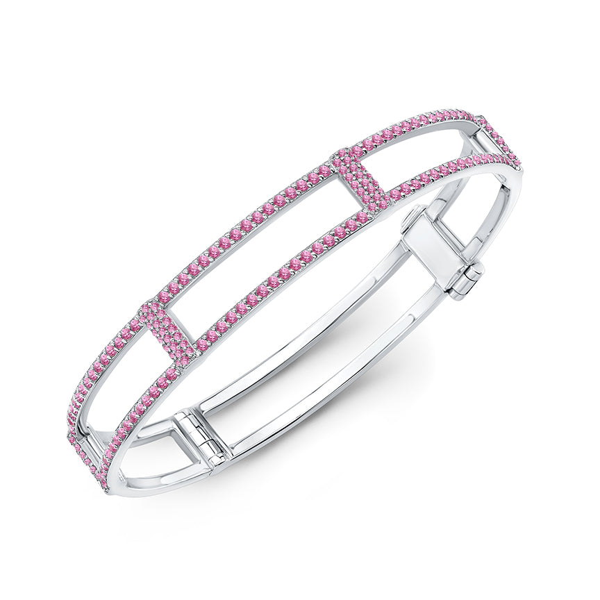 Locking Cage Bracelet | White Gold with All Pink Sapphires