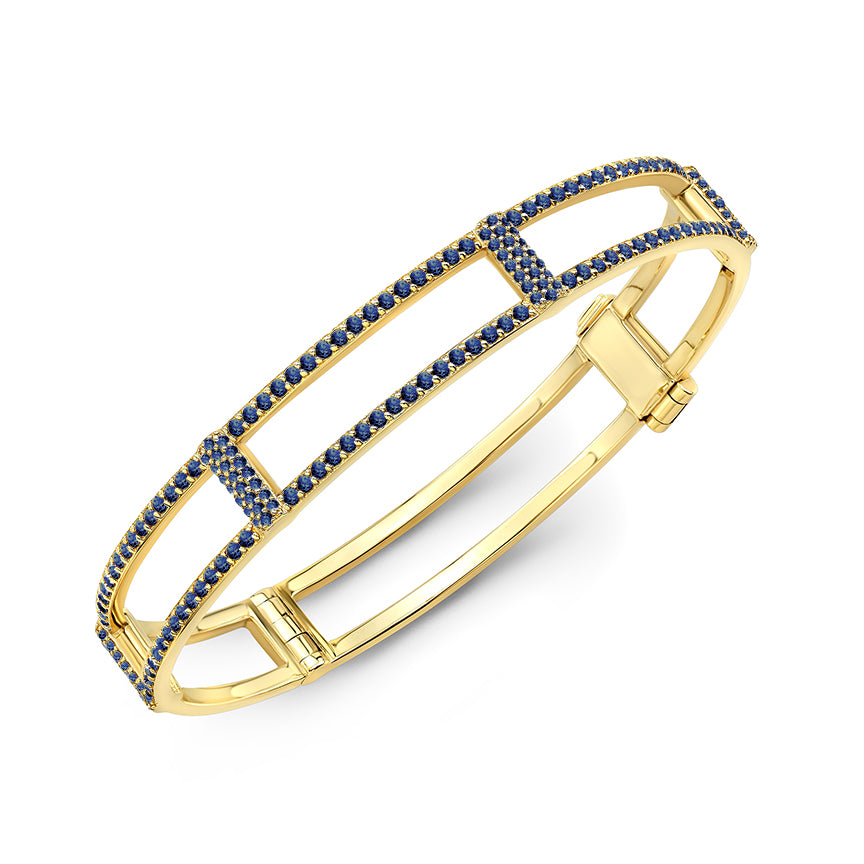 Locking Cage Bracelet | Yellow Gold with All Blue Sapphires