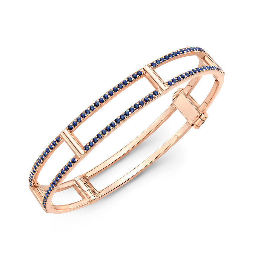 Locking Cage Bracelet | Rose Gold with Blue Sapphires on Lateral Bars