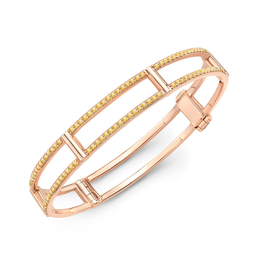 Locking Cage Bracelet | Rose Gold with Yellow Sapphires on Lateral Bars