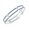 Locking Cage Bracelet | White Gold with Blue Sapphires on Lateral Bars