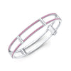 Locking Cage Bracelet | White Gold with Pink Sapphires on Lateral Bars