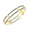 Locking Cage Bracelet | Yellow Gold with Blue Sapphires on Lateral Bars