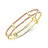 Locking Cage Bracelet | Yellow Gold with Pink Sapphires on Lateral Bars