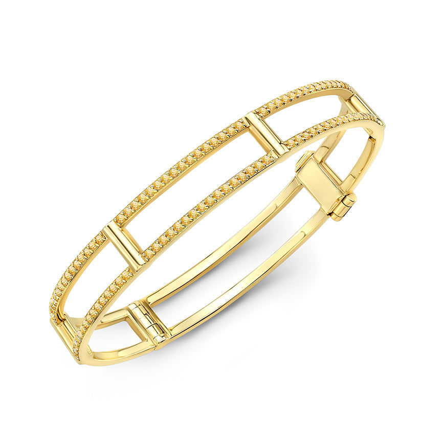 Locking Cage Bracelet | Yellow Gold with Yellow Sapphires on Lateral Bars