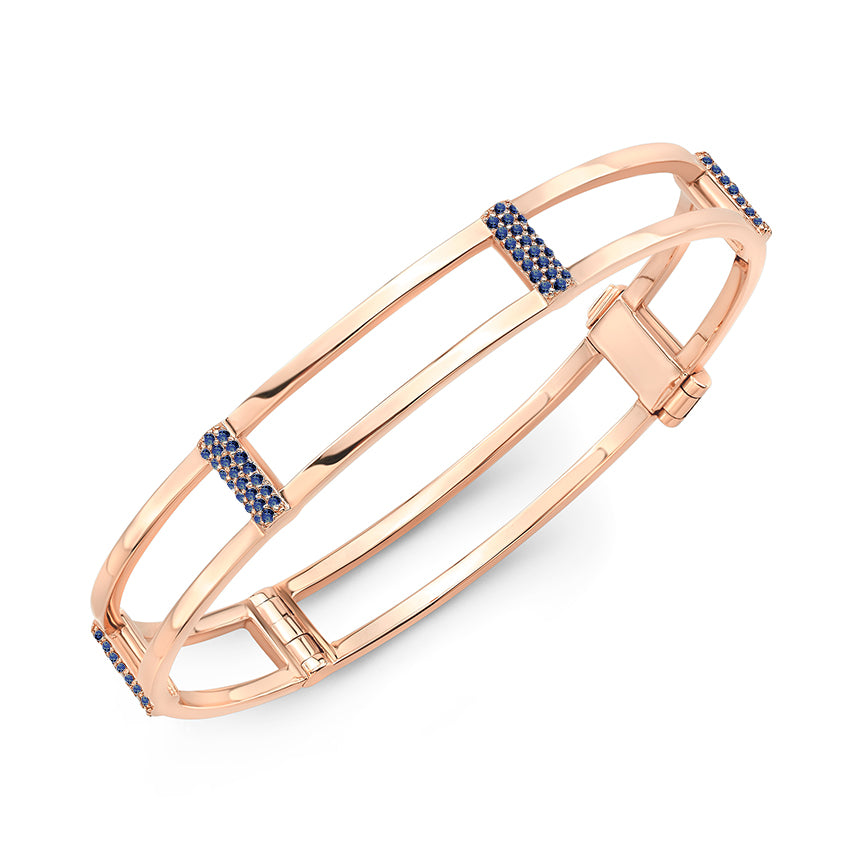 Locking Cage Bracelet | Rose Gold with Blue Sapphires on Posts