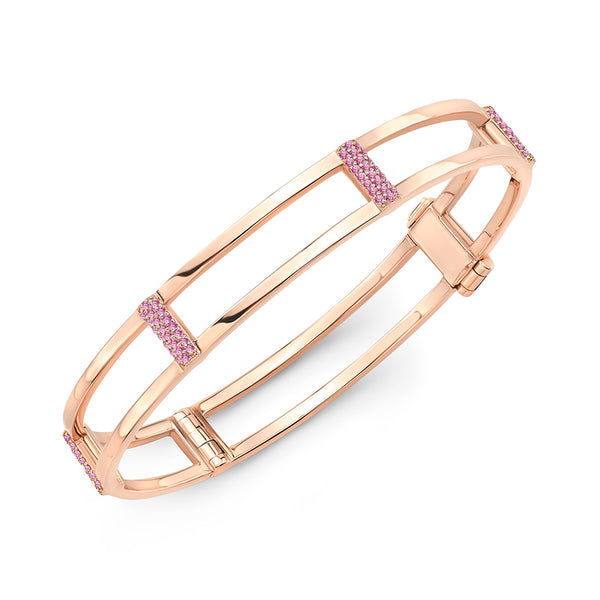 Locking Cage Bracelet | Rose Gold with Pink Sapphires on Posts