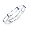 Locking Cage Bracelet | White Gold with Blue Sapphire Posts