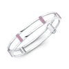 Locking Cage Bracelet | White Gold with Pink Sapphire Posts